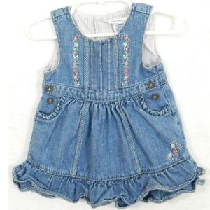 Oshkosh Baby Floral 9 Mo Ruffle Jean Denim Dress
